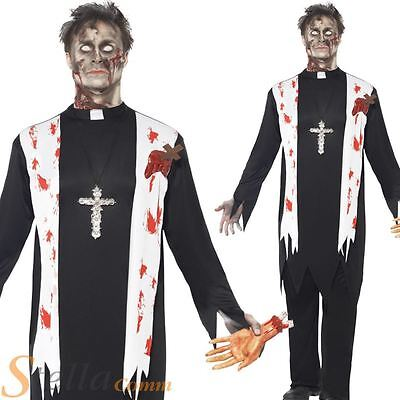 Mens Zombie Priest Vicar Undead Halloween Fancy Dress Costume Adult Outfit