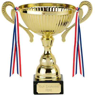 Trophy Cup Award 3 Sizes Available Engraved Free Siena Gold Handles & Ribbons