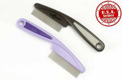Extra Long Stainless Pet Flea Comb Brush with Comfortable Grip Grooming Dogs Cat