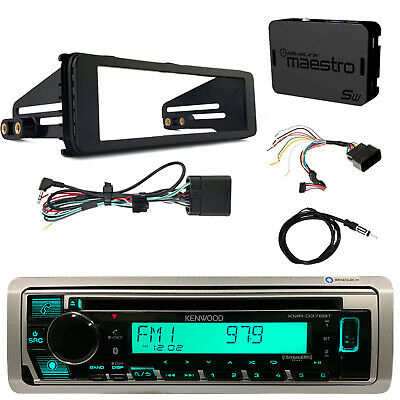 Kenwood KMRD372BT CD Bluetooth Radio, Harley Wiring Kit, Dash Kit, Antenna