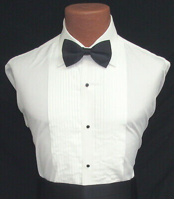 Ivory Off-White Bone Pleated Front Laydown Collar Tuxedo Shirt Wedding Prom