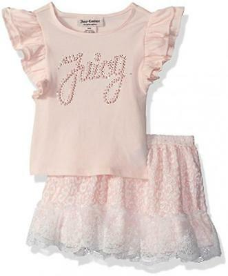 Juicy Couture Big Girls Pink 2pc Skirt Set Size 7 8/10 12 $75