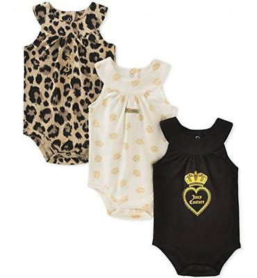 Juicy Couture Infant Girls 3 Pack Sleeveless Bodysuits Size 0/3M 3/6M 6/9M $45