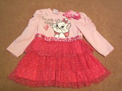 Baby Girls Disney Purr-fectly Pretty Marie Pink Long Sleeve TuTu Dress Size 18M