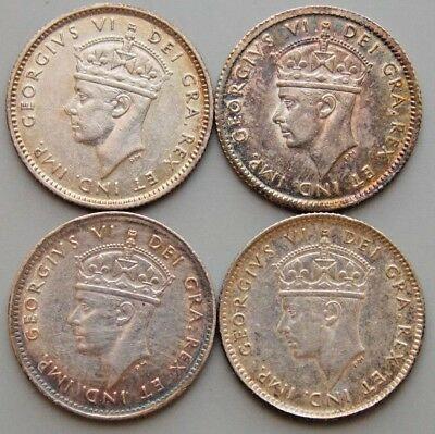 1938 1943 1944 1945  Newfoundland Canada Canadian Silver 5 Cent  Coins Lot Of 4