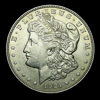 1921 D ~**ABOUT UNCIRCULATED AU**~ Silver Morgan Dollar Rare US Old Coin! #R58