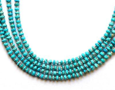 """7""""1 Line Natural Faceted Rondelle Sleeping Beauty Turquoise Beads 3Mm 60Pcs #152"""
