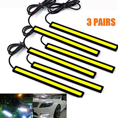 6 x 12V Auto 180 Led Cob Chip Luci Diurne Bianco Barra Strisce Super Luminoso
