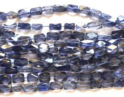 """14"""" Natural Iolite Faceted Cube Gemstone Beads One Line 55 Pcs 4X5-4X7 Mm #266"""
