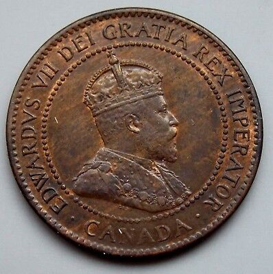 1906 - Canada Large 1 Cent Canadian Edward Coin - Better Grade