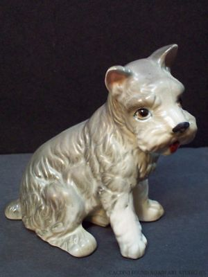 Vintage Lefton Label Schnauzer Dog Sitting Porcelain Figurine Gray Puppy