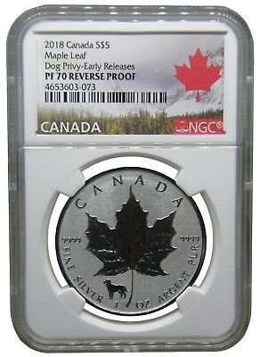 2018 Canada Reverse Proof Dog Privy Mark NGC PF 70 Early Release b237
