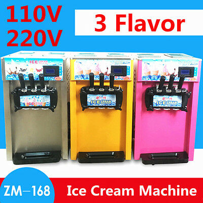 110V/220V 18L/H 3 Flavor Commercial Frozen Cones Soft  Ice Cream Making Machine