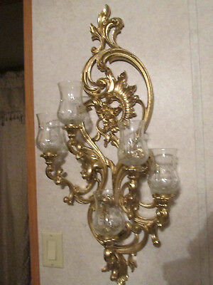 Home Interiors Large 5 Arm Wall Candle Holder Sconce hollywood regency Gold