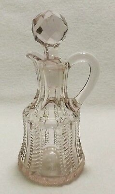 EAPG Antique Victorian Cruet Faceted Stopper Age/Sun Violet Large Zipper Pattern