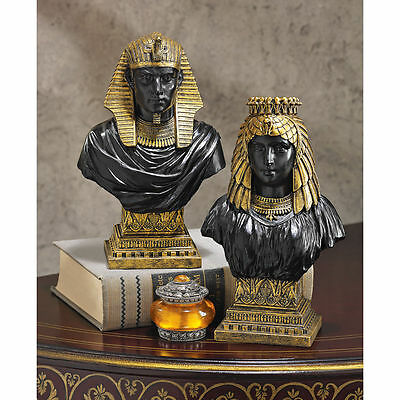 Egyptian Revival Set of 2 Sculptures Egypt King & Queen 18th Dynasty Bust Busts