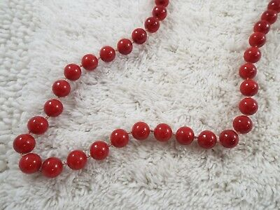 Long Marbled Red Acrylic Fused Bead Necklace (B36)
