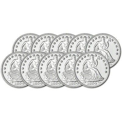 TEN (10) 1 oz. Highland Mint Silver Round Seated Liberty Design .999 Fine