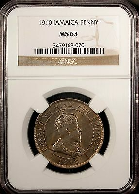 Jamaica Penny 1910  NGC MS 63 UNC Copper Nickel Edward VII