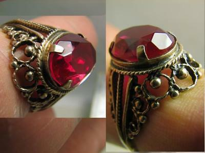 EXCELLENT ! AUTHOR'S WORK ! VINTAGE STERLING SILVER RING with STONE !  #78