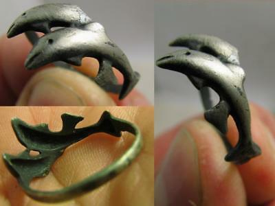 Dolphins ! Very Nice Vintage Sterling Silver Ornamented Ring #6918