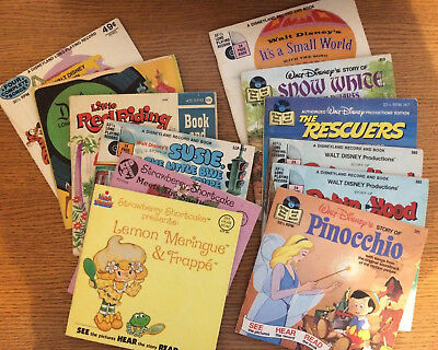 Lot of 12+ See Hear Read Book Record Disney 1970s Robin Hood Rescuers Snow White