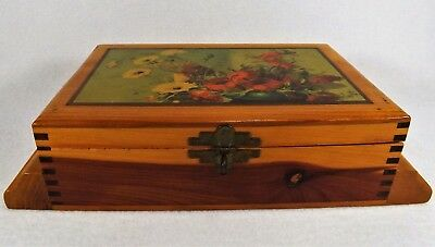 Antique Wood Jewelry Box Decoupage Top Dresser Box What Not  Jointed Corners