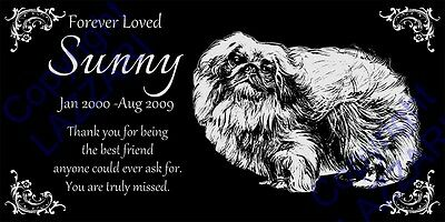 "Personalized Pekingese Pet Dog Memorial 12""x6"" Engraved Granite Grave Marker"
