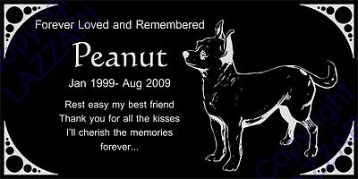 "Personalized Chihuahua Pet Dog Memorial 12""x6"" Engraved Granite Grave Marker"