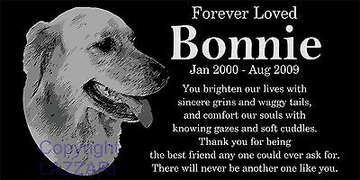 "Personalized Golden Retriever Dog Pet Memorial 12""x6"" Granite Grave Marker"