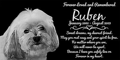 Personalized Havanese Dog Pet Memorial 12x6 Granite Headstone Grave Marker