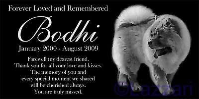 """Personalized Chow Chow Dog Pet Memorial 12""""x6"""" Granite Grave Marker Headstone"""
