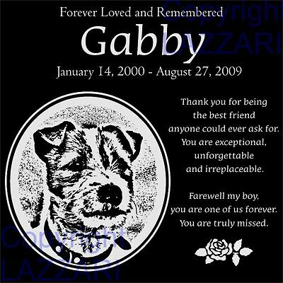 "Personalized Jack Russell Terrier Dog Pet Memorial 12""x12"" Granite Grave Marker"