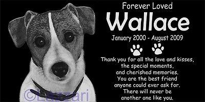 Personalized Jack Russell Terrier Dog Pet Memorial 12x6 Headstone Grave Marker