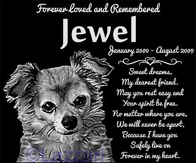 Personalized Long Haired Chihuahua Pet Memorial 12x10 Headstone Hair Longhaired