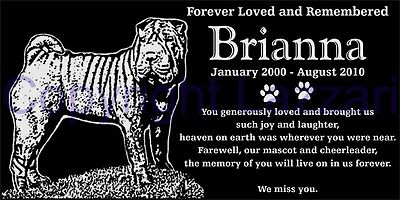 "Personalized Shar Pei Dog Pet  Memorial 12""x6"" Engraved Granite Grave Marker"
