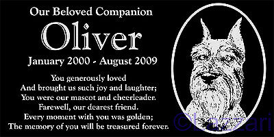 "Personalized Schnauzer Dog Pet Memorial 12""x6"" Engraved Granite Grave Marker #2"