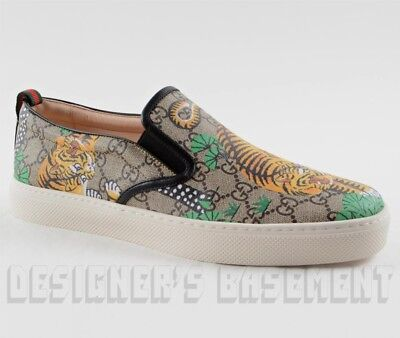 3c14b41cc GUCCI men 10.5G BENGAL TIGER GG Supreme Canvas DUBLIN slip on sneakers NIB  Auth
