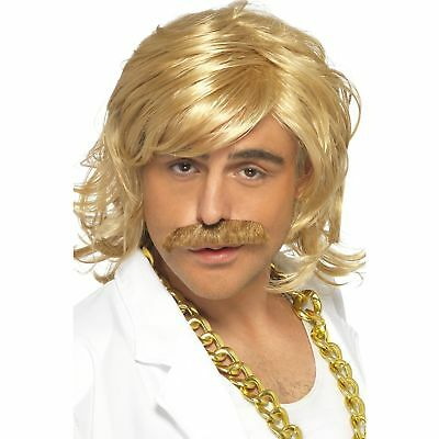 KEITH BLONDE GAME SHOW HOST WIG & TASH mens fancy dress costume accessory