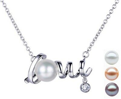 925 Sterling Silver Love Freshwater Pearl CZ Pendant Necklace Chain Gift Box C15