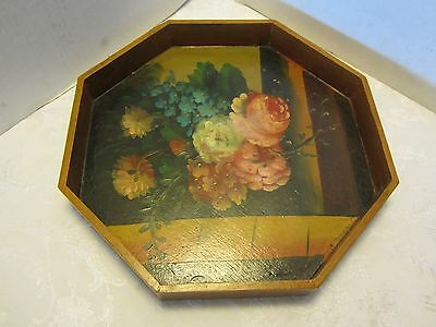 """Vintage Hand Painted Floral Wood Tole Tray octagonal Chic Shabby 14¼"""" W USA"""