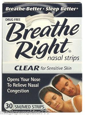 1 Breathe Right Adult Nasal Strips CLEAR for Sensitive Skin, SMALL/MEDIUM, 30 Ct