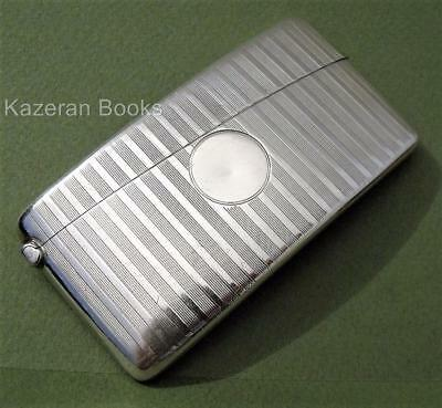 Vintage Solid Sterling Silver Engine Turned Art Deco Curved Card Case W Neale
