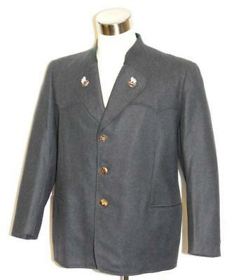 "Vtg 40's / BLUE ~ WOOL German Men HEAVY & WARM Dress Suit Over Coat JACKET 46"" L"