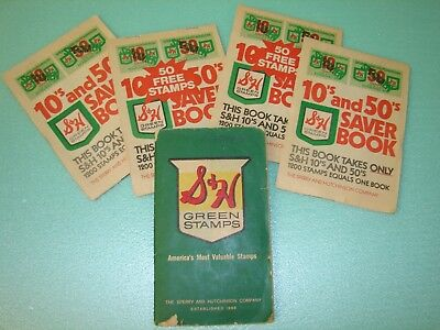Vintage S & H Green Stamps pasted into Books - 1 w/covers, 4 w/o covers.