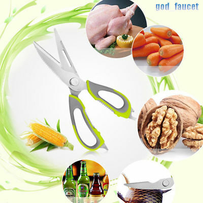 Multi-functional Kitchen Scissors Stainless Steel Magnetic Hanging Holder Green