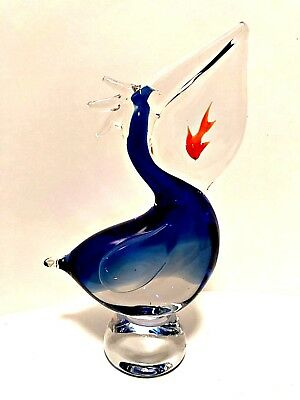 Murano Art Glass Pelican Figurine Swallowing a Goldfish Heavy 10 inches Tall