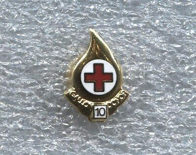 RED CROSS BLOOD DONOR 10 GALLON PIN, New