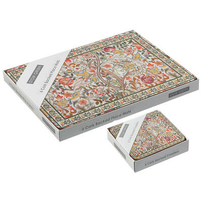 Stow Green Mary Isobel Placemats and Coasters Tapestry Floral Red Green Mats