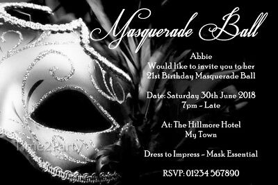 Masquerade Ball Personalised Birthday Party Invitations 18th 21st 30th 40th BW